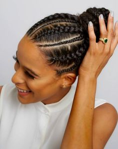 Braided Updo We CANNOT get enough of this beautifully braided bun! Featuring a super hot Fulani braiding style, this protective style for natural hair is a great option for fall and winter! Big Braids, Long Box Braids, Girls Braids, Big Cornrows, Corn Row Braids, Dutch Braids, French Braids, Curly Hair Styles, Natural Hair Styles