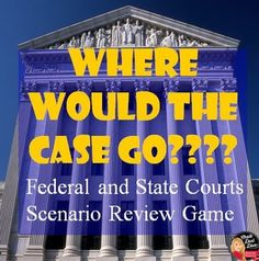 Judicial Branch – Where Would the Case Go? Scenario Review Game (Civics)  This is a fun and interactive way to test your student's knowledge about the United States Court System. Students can work individually or in groups to figure out what court would here the case in the scenarios. Follow the link to see my other products related to the Judicial Branch THE JUDICAL BRANCH