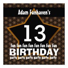 13th Birthday Party or Any Year Fun STAR V13B InvitesSee more:  Teen Birthday INVITATIONS: http://www.zazzle.com/jaclinart/gifts?cg=196319186511761985  Teen Birthday TEES: http://www.zazzle.com/jaclinart/gifts?ps=120&cg=196440535520435911