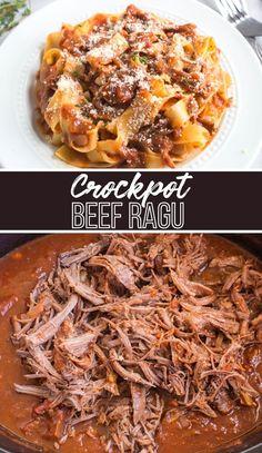 Slow Cooker Pasta, Slow Cooker Beef, Slow Cooker Recipes, Crockpot Recipes, Family Fresh Meals, Easy Family Dinners, Quick Easy Meals, Family Recipes, Ragu Recipe