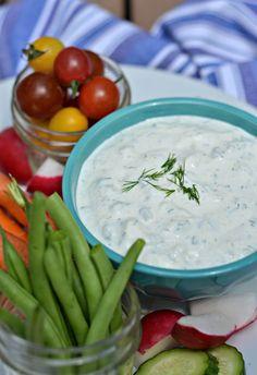 Garlic Herb Dip made with Greek Yogurt, fresh herbs and lots of garlic!  | mountainmamacooks.com