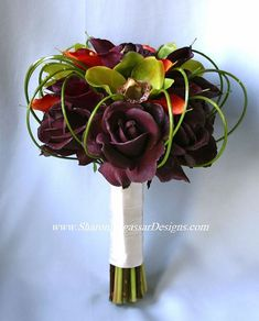 sharon nagassar designs silk, latex, real touch, custom wedding flowers - Eggplant-Plum-Green-Orange: Calla, Orchid & Rose Collection