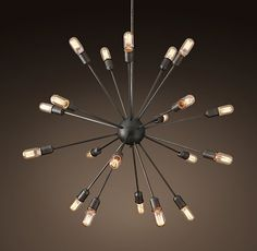 Lustre EXPLORER 24 Lampes au Style Industriel et Spatial en Métal Noir