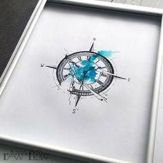 Best Watercolor tattoo - Clock compass tattoo abstract broken...