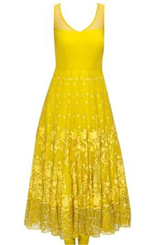 Mustard Yellow And Cream Embroidered Anarkali Set from PerniasPopUpShop