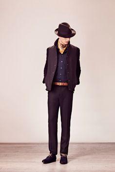 light brown belt with dark wool pants;  Fall 2012 Menswear  Paul & Joe - Runway