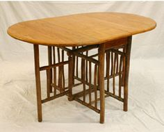 """Old Hickory Drop-Leaf Gateleg Table with quarter sawn oak oval top, 18 spindles.  30\""""H, Top; 36\"""" x 18\"""" with 18\""""drops."""