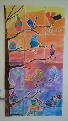 Linnunlaulupuu 4 lk Art Club Projects, Collaborative Art Projects, 5th Grade Art, My Art Studio, Spring Art, Art Lessons Elementary, Autumn Art, Preschool Art, Science Art
