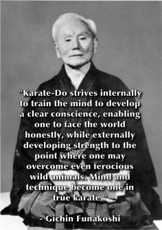 The father of modern Karate Karate Quotes, Self Defense Moves, Shotokan Karate, Martial Arts Training, Garage Makeover, Martial Artist, Kendo, Book Title, Bruce Lee