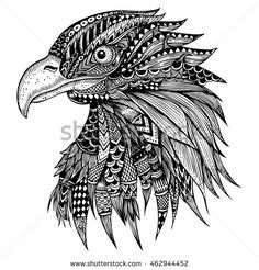 Find Hand Drawn Eagle Head Zentangle Stylized stock images in HD and millions of other royalty-free stock photos, illustrations and vectors in the Shutterstock collection. Thousands of new, high-quality pictures added every day. Eagle Drawing, Doodle Art Drawing, Cool Art Drawings, Zentangle Drawings, Mandala Drawing, Pencil Art Drawings, Art Drawings Sketches, Black Pen Sketches, Doddle Art