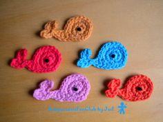 Crochet by AmirumisFanClub. Free pattern by Jennyandteddy !!! http://www.jennyandteddy.com/2013/02/whale-crochet-applique-free-pattern/