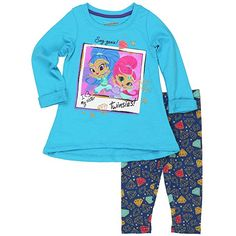 f7d67f68095cc Shimmer and Shine Toddler and Little Girls Top and Leggings Set (4,  Twinsies Aqua
