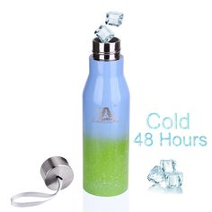 Keep ice cold for 48 hours stainless steel vacuum water bottle