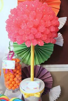 Rock Candy Topiary at a Candyland Party #candyland #party