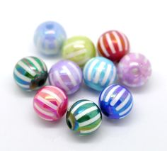 Cute Melon Striped Acrylic Beads for sale at the Supplies w. a Surpise Auction! It's the only auction with a guaranteed surprise! Come and join the fun!