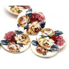 Στρογγυλό φίλντισι Δίσκος  με κόκκινα τριαντάφυλλα και μπεζ  30mm-1τεμ