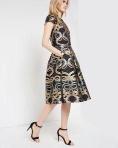 Snake jacquard full skirt - Black | Skirts & Shorts | Ted Baker