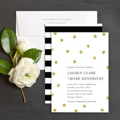 Gold Confetti Wedding Invitations by Lehan Veenker | Elli