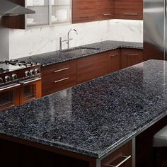 allen + roth Blue Pearl Granite Kitchen Countertop Sample at Lowe's. Fuse your personal design with the warmth and elegance of allen + roth™ granite countertops. Blue Kitchen Countertops, Cost Of Granite Countertops, Blanco Kitchen Sinks, Black Quartz Countertops, Granite Bathroom, Countertop Options, Kitchen Cabinets, Kitchen Backsplash, Kitchen Island