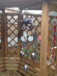 #Large metal owl glow in the dark #windchime flower bells rustic #garden decorati,  View more on the LINK: http://www.zeppy.io/product/gb/2/162281476304/