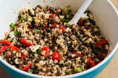 Kalyn's Kitchen®: Recipe for Lentil and Barley Greek-Style Salad with Tomatoes, Feta, and Capers