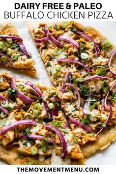 This easy and healthy recipe for buffalo chicken pizza is homemade and the crust is absolutely the best. Its made with just 5 ingredients and the homemade ranch sauce on top is also to die for. Gluten free dairy free and paleo buffalo chicken pizza. Paleo Pizza, Dairy Free Pizza, Buffalo Chicken Pizza, Best Paleo Recipes, Real Food Recipes, Pizza Recipes, Free Recipes, Primal Recipes, Favorite Recipes
