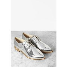 Forever 21 Metallic Faux Leather Oxfords ($30) ❤ liked on Polyvore featuring shoes, oxfords, flats, vegan shoes, platform oxfords, women shoes, metallic flats and metallic shoes
