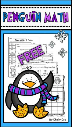 Winter Math freebie for grade--addition & subtraction with regrouping, mental math and place value--FREE MATH 2nd Grade Classroom, Math Classroom, Classroom Freebies, Classroom Ideas, Math Resources, Math Activities, Math Games, Second Grade Math, Grade 2