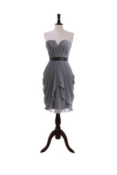 Strapless Chiffon Dress with Dipped V Bodice