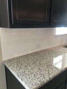 Luna pearl granite House Rental, Black Cabinets, Kitchen Inspirations, Granite Countertops, Black Backsplash, Luna Pearl Granite, Kitchen Facelift, Granite Kitchen, Pearl Backsplash