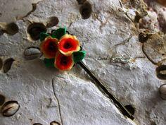 Antique handmade flower polymer clay pin