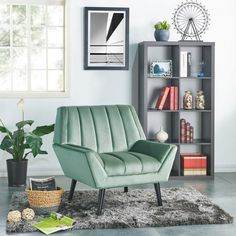 Handy Living Houston Mid-Century Modern Turquoise Blue Velvet Arm Chair