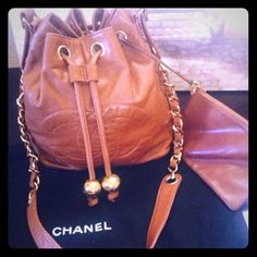 """Fab""""Vintage Chanel"""" Drawstring Authentic Bag! Fab""""Rare Vintage """"Chanel"""" Drawstring Authentic Bag with coin purse attached! Lambskin CONDITION:Gently Loved (slight signs of wear) Garment bag included.. Medium size """" Gorgeous butter soft material ;) authenticated by shop hers.. More pics just ask... NO TRADES ..no low ball offers ty  CHANEL Bags Crossbody Bags"""