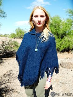 Pair one of our #fairtrade loom woven ponchos with a some skinny jeans + combat boots & you're ready to go this fall! Find out more about how it was made at: http://mitlamoda.com/collections/854866-ponchos/products/9454690-blue-loom-woven-poncho-aztec-diamond-weave-pattern