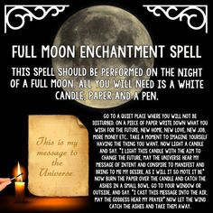 From Spells 'n' Stuff ~ witch witchcraft wicca pagan spell lunar moon candle magic More of a spell to soth and or help have hope for the future Magick Spells, Candle Spells, Candle Magic, Hedge Witchcraft, Luck Spells, Voodoo Spells, Pagan Witchcraft, Money Spells, Full Moon Spells