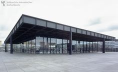The Neue Nationalgalerie (New National Gallery) on Potsdamer Platz in West Berlin (1965-68)-Architect Ludwig Mies van der Rohe was the former director of the Dessau Bauhaus. In 1938, he emigrated to the U.S., where his successful career continued. In 1962, he was commissioned to design the Neue Nationalgalerie (New National Gallery) in West Berlin. Conceived as part of the new Culture Forum in Berlin's Tiergarten neighborhood, the museum was built to house the works in the Old National…
