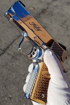 Awesome Kimber Pistols For Ideas On Your Next Gun How sick is this polished Kimber? Check out these 30 must see pistols for inspiration!How sick is this polished Kimber? Check out these 30 must see pistols for inspiration! Ninja Weapons, Weapons Guns, Guns And Ammo, Armas Airsoft, Armas Ninja, 1911 Pistol, Shooting Guns, Cool Guns, Awesome Guns