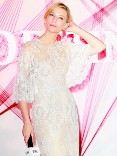 Cate Blanchett is utterly ethereal in a white lace gown during the SK-II beauty event on Tuesday in Shanghai, China.
