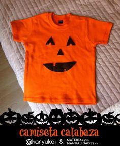 Camiseta calabaza para Halloween - Materialparamanualidades.es #DIY #Manualidades #Fieltro #Halloween