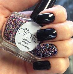such cool nails. pearl nail polish.#ciate #black #accentnail