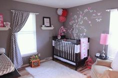Grey and pink nursery   I think I'm sold on white furniture in a small space but really like the (non-pink!) chevron curtains