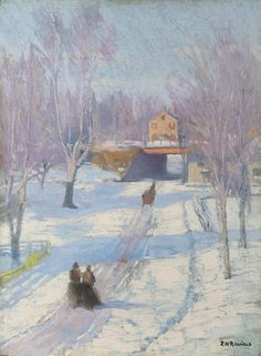 Edward Willis Redfield - Winter in Glenside, Pennsylvania | From a unique collection of landscape paintings at http://www.1stdibs.com/art/paintings/landscape-paintings/