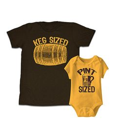 Look at this Happy Soul Brown 'Keg Sized' Tee & Gold 'Pint Sized' Bodysuit