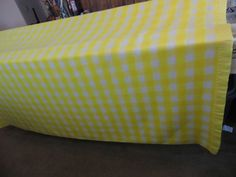 Blanket Yellow & White Buffalo Checked  Bed Blanket-Vintage Cottage bedding-Fabulous color and condition by flyingdollar on Etsy