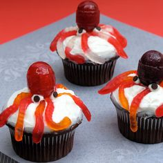 Ursula's Octopus Cupcakes for Halloween   Spoonful