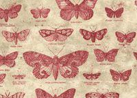 Tim Holtz Fabric: Eclectic Elements, Butterflight, Red (per 1/4 metre)