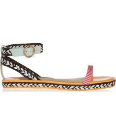 Bea patent-leather and raffia sandals