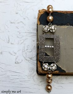 Vintage Riveted Steel Buckle Rhinestone and Pearl by simplymeart, $80.00