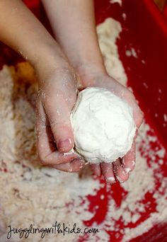 Cloud Dough made with flour and baby oil.  Great sensory idea!!!!