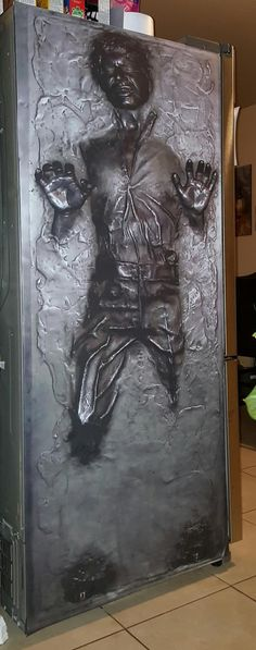 For your apt! HAN SOLO CARBONITE STAR WARS REFRIGERATOR WRAP sticker Gray Black – Rm wraps Store